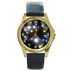 Abstract Dark Spheres Psy Trance Round Gold Metal Watch