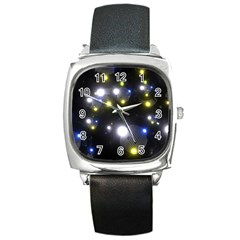 Abstract Dark Spheres Psy Trance Square Metal Watch