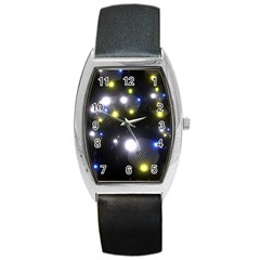 Abstract Dark Spheres Psy Trance Barrel Style Metal Watch