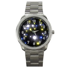 Abstract Dark Spheres Psy Trance Sport Metal Watch