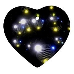 Abstract Dark Spheres Psy Trance Heart Ornament (two Sides)