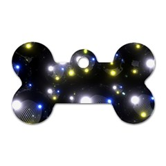 Abstract Dark Spheres Psy Trance Dog Tag Bone (two Sides)