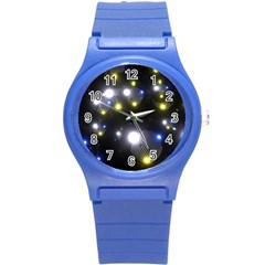 Abstract Dark Spheres Psy Trance Round Plastic Sport Watch (s)