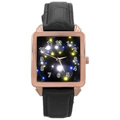 Abstract Dark Spheres Psy Trance Rose Gold Leather Watch