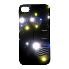 Abstract Dark Spheres Psy Trance Apple Iphone 4/4s Hardshell Case With Stand
