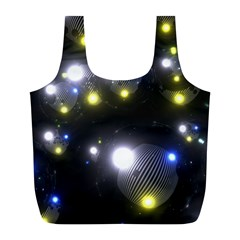 Abstract Dark Spheres Psy Trance Full Print Recycle Bags (l)