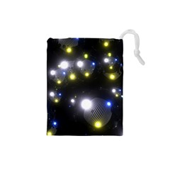 Abstract Dark Spheres Psy Trance Drawstring Pouches (small)