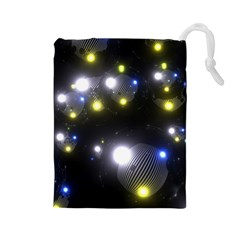 Abstract Dark Spheres Psy Trance Drawstring Pouches (large)
