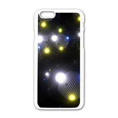 Abstract Dark Spheres Psy Trance Apple Iphone 6/6s White Enamel Case