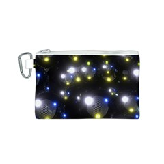 Abstract Dark Spheres Psy Trance Canvas Cosmetic Bag (s)