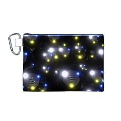 Abstract Dark Spheres Psy Trance Canvas Cosmetic Bag (m)