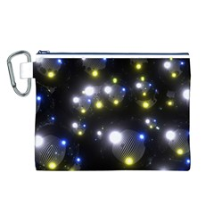 Abstract Dark Spheres Psy Trance Canvas Cosmetic Bag (l)