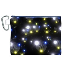 Abstract Dark Spheres Psy Trance Canvas Cosmetic Bag (xl)