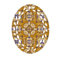 Abstract Elegant Background Card Oval Filigree Ornament (two Sides)