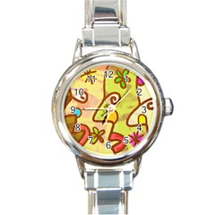 Abstract Faces Abstract Spiral Round Italian Charm Watch