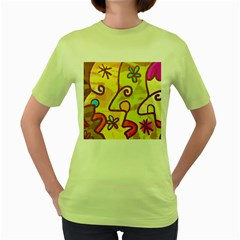Abstract Faces Abstract Spiral Women s Green T Shirt