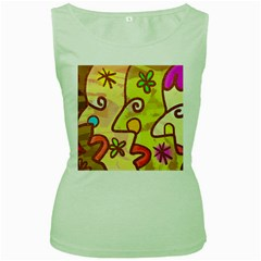 Abstract Faces Abstract Spiral Women s Green Tank Top