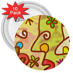 Abstract Faces Abstract Spiral 3  Buttons (10 Pack)