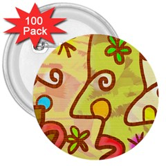 Abstract Faces Abstract Spiral 3  Buttons (100 pack)
