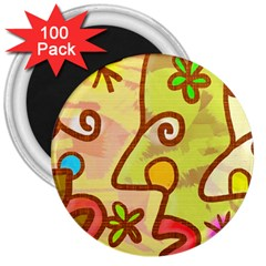 Abstract Faces Abstract Spiral 3  Magnets (100 Pack)