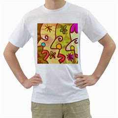 Abstract Faces Abstract Spiral Men s T Shirt (white) (two Sided)