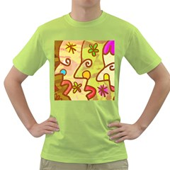 Abstract Faces Abstract Spiral Green T Shirt