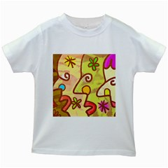 Abstract Faces Abstract Spiral Kids White T Shirts