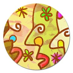 Abstract Faces Abstract Spiral Magnet 5  (round)