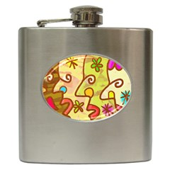 Abstract Faces Abstract Spiral Hip Flask (6 Oz)