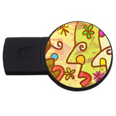 Abstract Faces Abstract Spiral USB Flash Drive Round (2 GB)