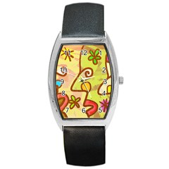 Abstract Faces Abstract Spiral Barrel Style Metal Watch