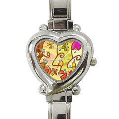 Abstract Faces Abstract Spiral Heart Italian Charm Watch