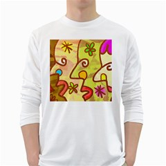 Abstract Faces Abstract Spiral White Long Sleeve T Shirts