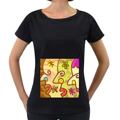 Abstract Faces Abstract Spiral Women s Loose Fit T Shirt (black)