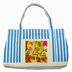 Abstract Faces Abstract Spiral Striped Blue Tote Bag
