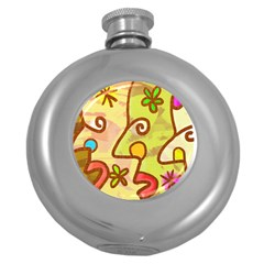 Abstract Faces Abstract Spiral Round Hip Flask (5 Oz)