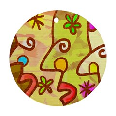 Abstract Faces Abstract Spiral Round Ornament (two Sides)