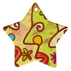 Abstract Faces Abstract Spiral Star Ornament (two Sides)