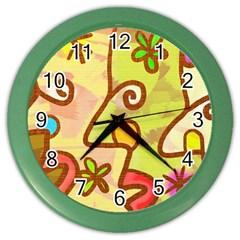 Abstract Faces Abstract Spiral Color Wall Clocks