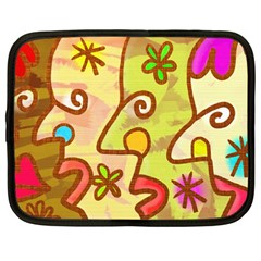 Abstract Faces Abstract Spiral Netbook Case (large)