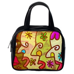 Abstract Faces Abstract Spiral Classic Handbags (one Side)
