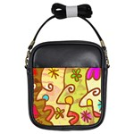 Abstract Faces Abstract Spiral Girls Sling Bags Front
