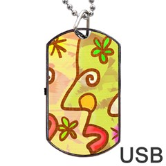 Abstract Faces Abstract Spiral Dog Tag Usb Flash (one Side)