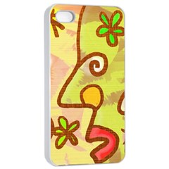 Abstract Faces Abstract Spiral Apple Iphone 4/4s Seamless Case (white)