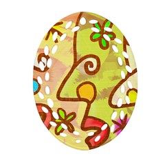 Abstract Faces Abstract Spiral Oval Filigree Ornament (two Sides)