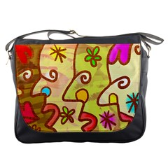 Abstract Faces Abstract Spiral Messenger Bags