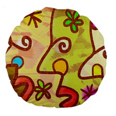 Abstract Faces Abstract Spiral Large 18  Premium Round Cushions