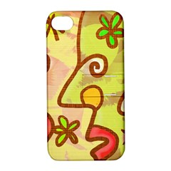 Abstract Faces Abstract Spiral Apple Iphone 4/4s Hardshell Case With Stand