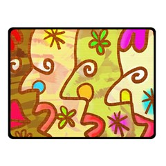 Abstract Faces Abstract Spiral Double Sided Fleece Blanket (small)