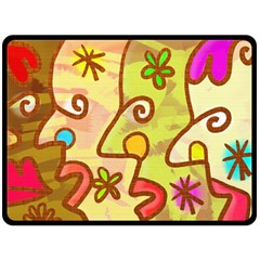 Abstract Faces Abstract Spiral Double Sided Fleece Blanket (large)